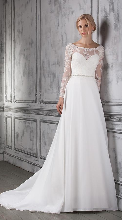 Свадебное платье годе с рукавами